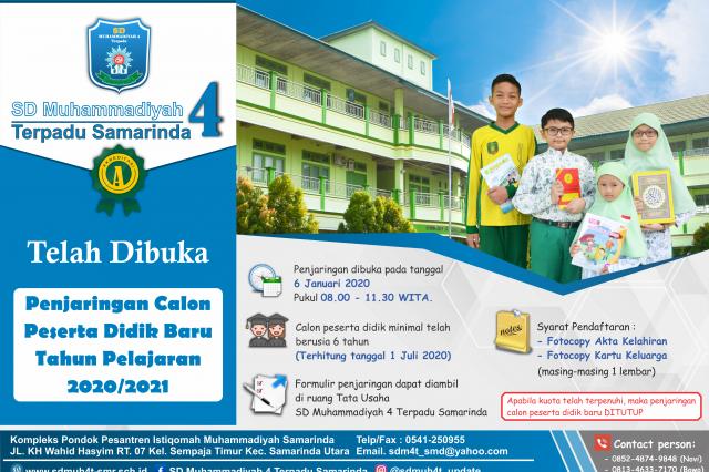 Penjaringan Calon Peserta Didik baru Tahun Pelajaran 2020/2021 - SD Muhammadiyah 4 Terpadu Samarinda
