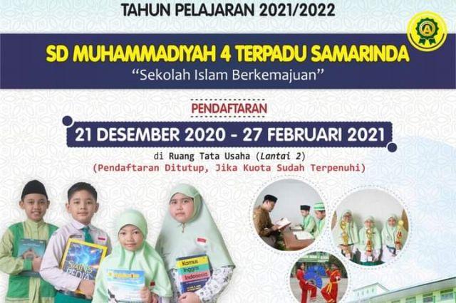 Penjaringan Peserta Didik Baru Tahun Pelajaran 2021/2022 - SD Muhammadiyah 4 Terpadu Samarinda